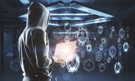 no face hacker at digital technology interface