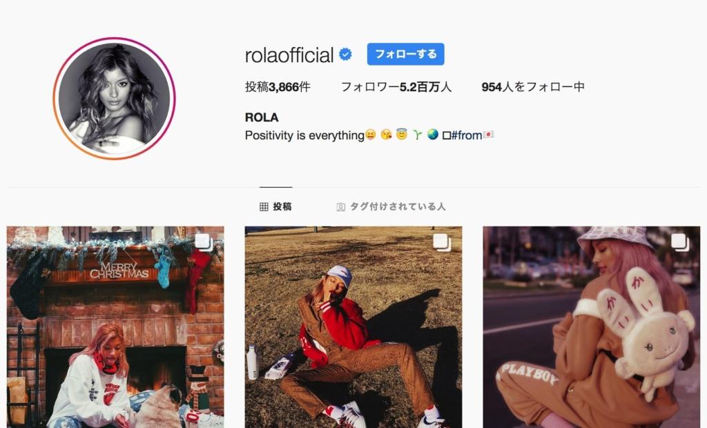 ローラさんの公式Instagram