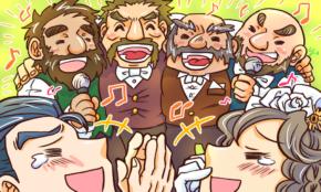 結婚式でスクラム組んで合唱。ところが背景にトンデモナイものが!