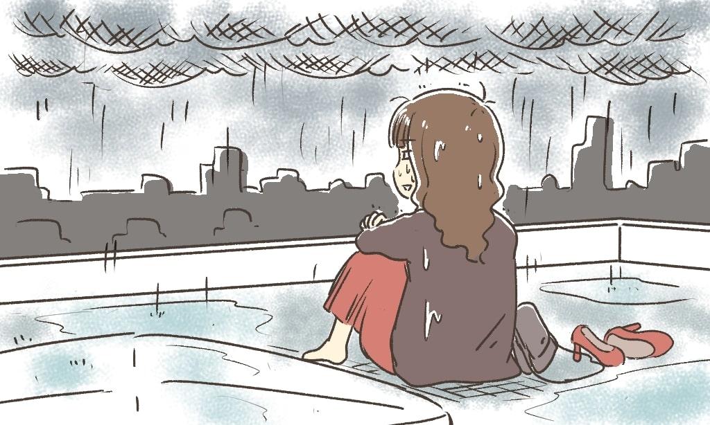 屋上で水浸し