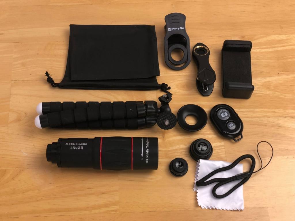 高品質HD18X望遠レンズ付きスマホレンズ4点セット
